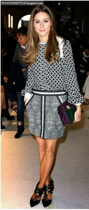olivia palermo in black and white print blouse with grey mini skirt and black suede pointed toe aquazzura sandals in paris on september 29 2013 what she wore celebrity fashion